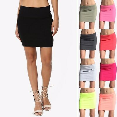 TheMogan Women's Basic Stretch Cotton Foldover Waistband Bodycon Tube Mini Skirt