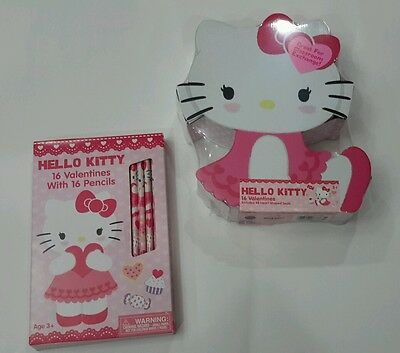 Valentine's Day Hello Kitty Heart Shaped 16 Cards with 16 Pencils Set & 48 Seals