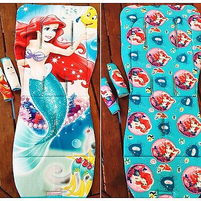 Reversible Pram Liner & Strap Covers - Universal - The Little Mermaid