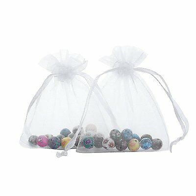 "100pcs 3.2*2.5"" Organza Bags with Drawstring Gift Packing Jewellry Pouch White"