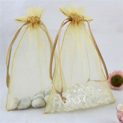 "100pcs 4*6"" Organza Drawstring Bags Gift Beads Packing Jewellry Pouch (Golden)"