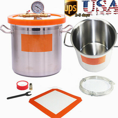 12L Vacuum Degassing Chamber Stainless Strong Barrel Acrylic Cover Silicone Pump