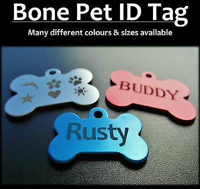 Aluminium Bone Pet ID Tag With FREE Engraving for Dog Cat Puppy  & FREE postage