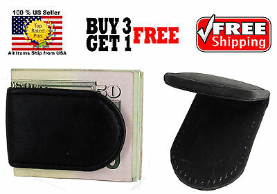 Men's Black Genuine Stitched Leather Strong Magnetic Money Clip Cash Holder NEW