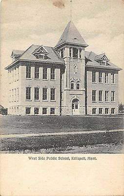 1910 Kalispell Montana West Side 3-Story Building School Postcard