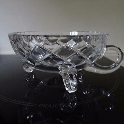 Unusual & Beautiful High Quality Heavy Cut Glass Footed Bowl with Handle