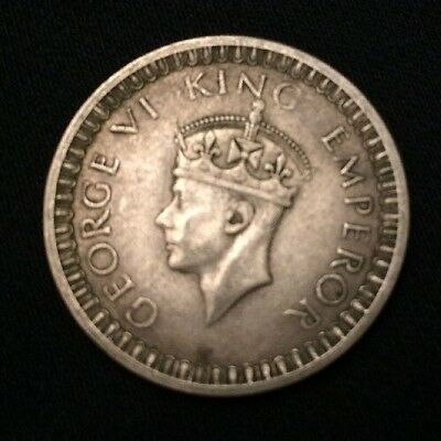 George VI King Emperor British Indian One Rupee 1942 SILVER