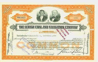 Stock Certificate- THE LEHIGH COAL AND NAVIGATION COMPANY