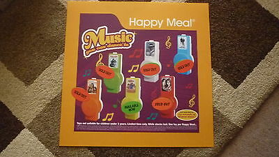 LARGE McDONALDS HAPPY MEAL MENU BOARD TRANSLITE SIGN, DANCE MUSIC TOY