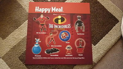 LARGE McDONALDS HAPPY MEAL MENU BOARD TRANSLITE SIGN, THE INCREDIBLES TOY