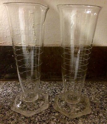 two (2) VINTAGE KIMAX GLASS CYLINDERS CONICALS 100 mL CHEMISTRY LAB LABORATORY