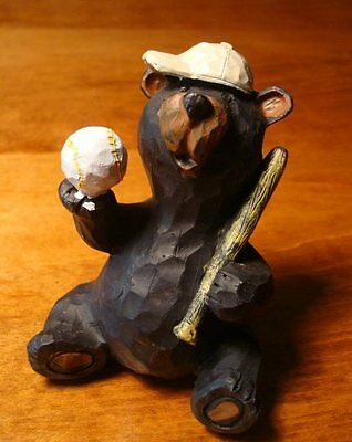 FAUX WOOD-CARVED BLACK BEAR BASEBALL PLAYER CUB Cabin Home Decor Figurine NEW