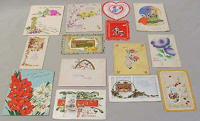 Vintage Greeting Cards Lot of 14 Mixed, Dates 1910's - 1950's Christmas Birthday