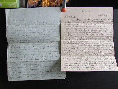 pair of Portland Maine Dunlap family stampless letters
