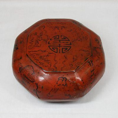 F113: Chinese old lacquer ware covered bowl with good taste.