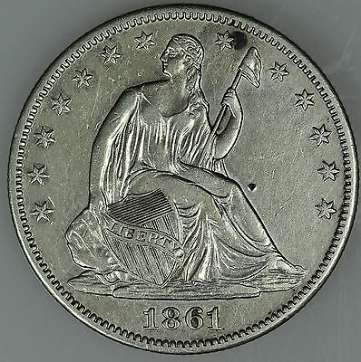 1861 O Seated Half Dollar! Au+ Details! 50C! Us Coin Lot #1354