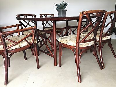 retro vintage chippendale bamboo cane dining table & 6 chairs