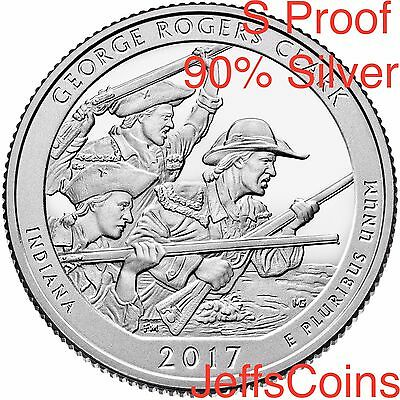 2017 S George Rogers Clark 90% Silver Proof Park Quarter Indiana ATB U.S.Mint