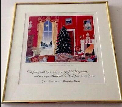 1994 Official CLINTON White House GIFT EDITION Christmas Card Red Room McKNIGHT