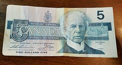 """1986 - Canadian five dollar bill - $5 Canada Note """"sold separately each"""""""