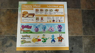 LARGE McDONALDS HAPPY MEAL MENU BOARD TRANSLITE SIGN, ZOOBLES & POKEMON