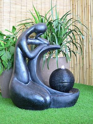 Solar pump Garden Outdoor Black Granite Ball Lady Water Fountain Feature SL259