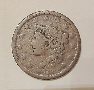 1838 Coronet Head Large cent / Circulated Condition