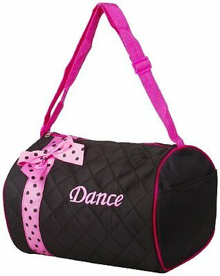Quilted Dance Duffle Bag with Pink Polka Dot Bow - NEW