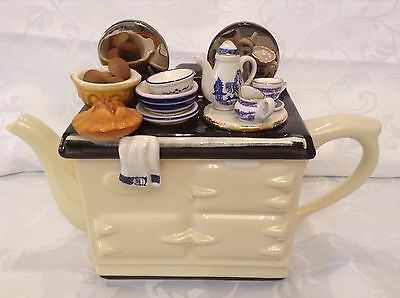 Teapottery Lrge Collectors Novelty Teapot White Aga Willow Pattern China Perfect
