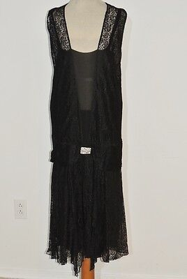 1920-30's black Lace Flapper Dress w Rhinestone Art Deco Clasp MED
