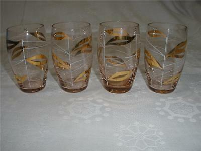 Retro Vintage Bohemia  Pink  Art Glass Sherry Glasses X 4 Czechoslovakia