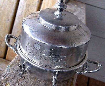 Antique Aesthetic Butter/Cheese Dome Dish Floral Victorian Silverplate Vintage