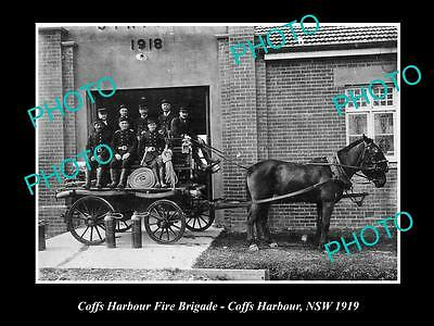 OLD LARGE HISTORICAL PHOTO OF COFFS HARBOUR NSW, THE FIRE BRIGADE WAGON c1919