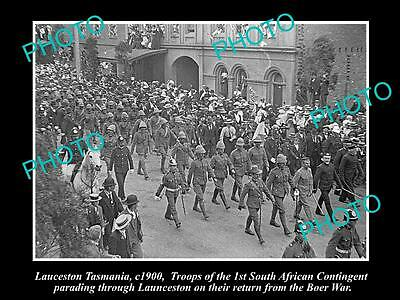 OLD LARGE HISTORICAL PHOTO OF LAUNCESTON TASMANIA, BOER WAR TROOPS PARADE c1900