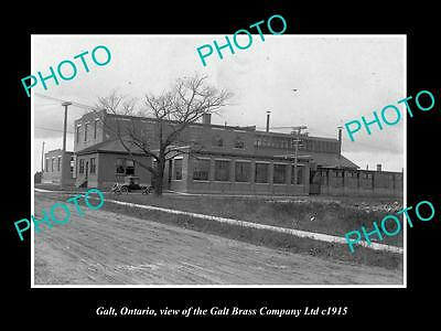 OLD LARGE HISTORIC PHOTO OF GALT ONTARIO CANADA, THE BRASS Co FACTORY c1915