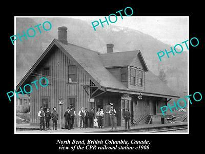 OLD LARGE HISTORIC PHOTO OF NORTH BEND BC CANADA, CPR RAILROAD STATION c1900 2