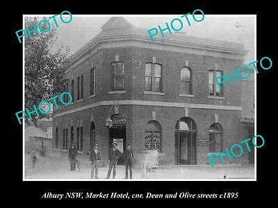 OLD LARGE HISTORICAL PHOTO OF ALBURY NSW, VIEW OF THE MARKET HOTEL c1895