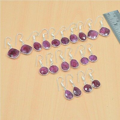 925 Silver Plated Wholesale 10 Pair Lot Faceted Red Ruby Hook Earring Jewelry