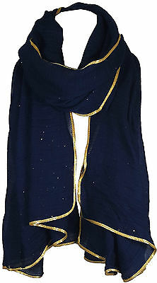 Navy Blue Women's Glitter Sparkle Star Dust with GOLD PIPING Scarf Wrap