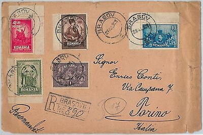 58351  -  ROMANIA - POSTAL HISTORY: REGISTERED COVER to ITALY - 1929