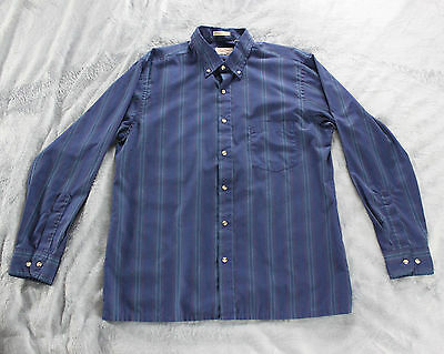 Men's The Fox Collection Long-Sleeve Shirt Pin-striped Blue Large Vintage 60/40