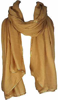 Gold Women's Glitter Sparkle Star Dust with GOLD PIPING Scarf Wrap