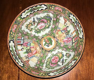 """Antique 7"""" Chinese Cantonese Hand Painted Famille Rose Bowl"""