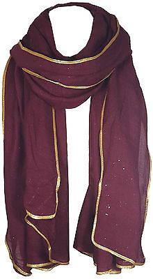 Burgundy Women's Glitter Sparkle Star Dust with GOLD PIPING Scarf Wrap