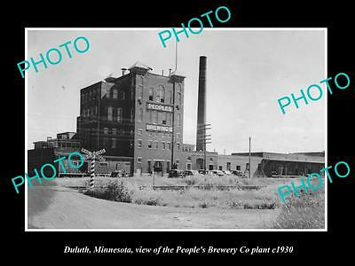 OLD LARGE HISTORIC PHOTO OF DULUTH MINNESOTA, THE PEOPLES BREWERY PLANT c1930