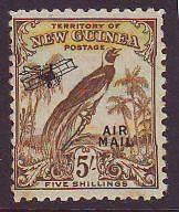 NEW GUINEA 5/-  Bird of Paradise 1932 Airmail Undated Sg201 Mint