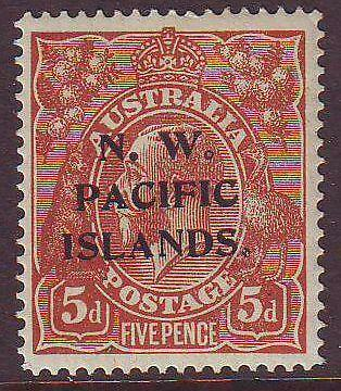 NEW GUINEA  - N.W.P.I. Sg72 5d Brown KGV Overprinted Type A Mint
