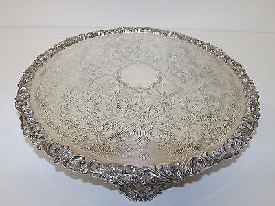 """Vintage Silver Plated Copper Footed Tray / Stand 12,3/4"""" Across"""