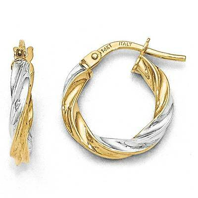 Twisted Hoop Earrings 14K Two Tone Gold Textured 2mm Hinged Post Leslies
