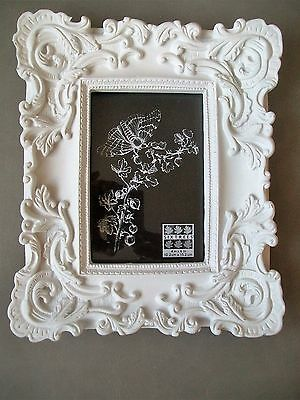 Sixtrees Picture Frame Nwt White Chalk Scroll Baroque Recessed 4x6